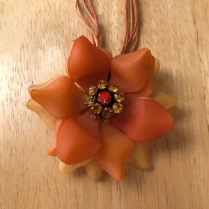 Orange Flower Necklace Crystals Retro Festive
